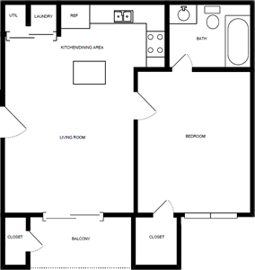 One Bedroom / One Bath - 600 Sq. Ft.*