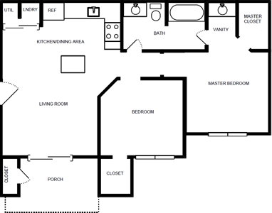 Two Bedroom / One Bath - 800 Sq. Ft.*